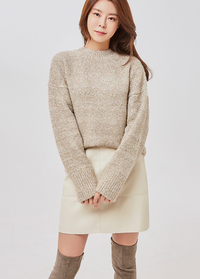 (2FNT057)Glitter圆领针织衫