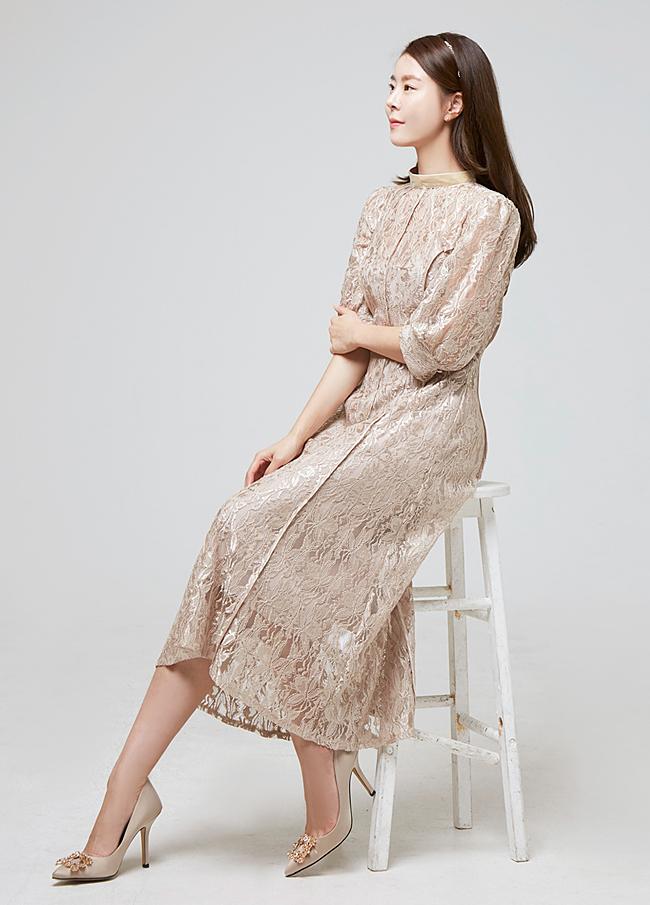(2FOP065)线条蕾丝长款连衣裙