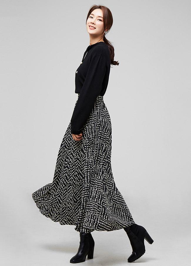 (2FSK096)圆点100折折叠带长款裙子