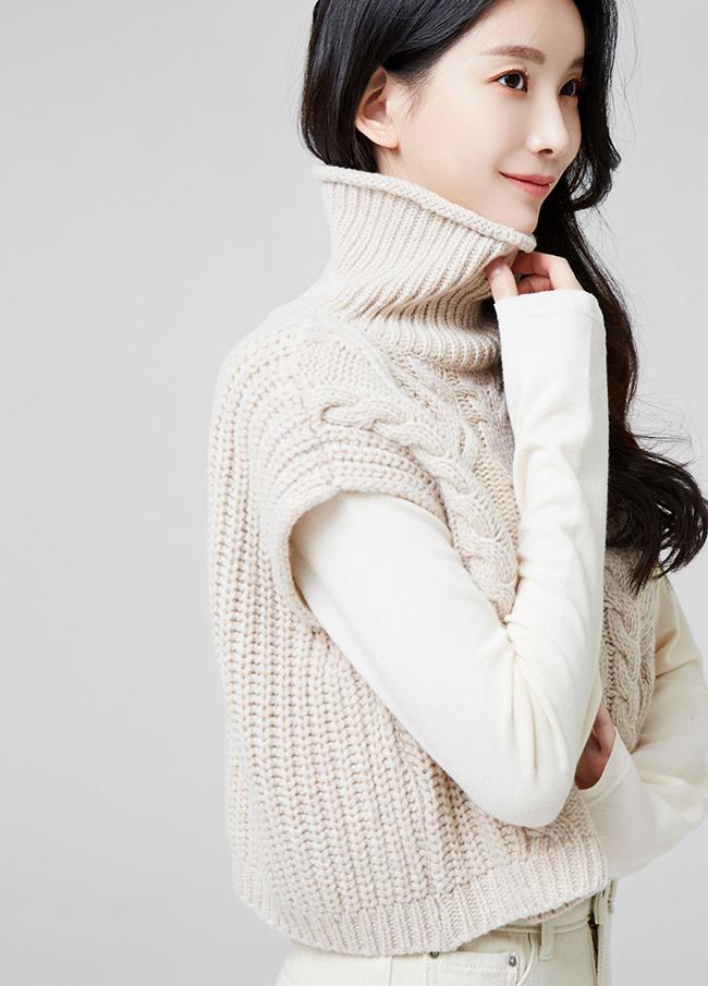 (2FNT151)7分羊毛高龄针织衫麻甲