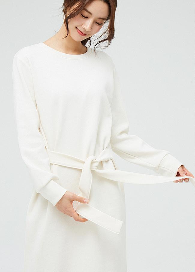 (3SOP003)棉质腰带长款圆领连衣裙