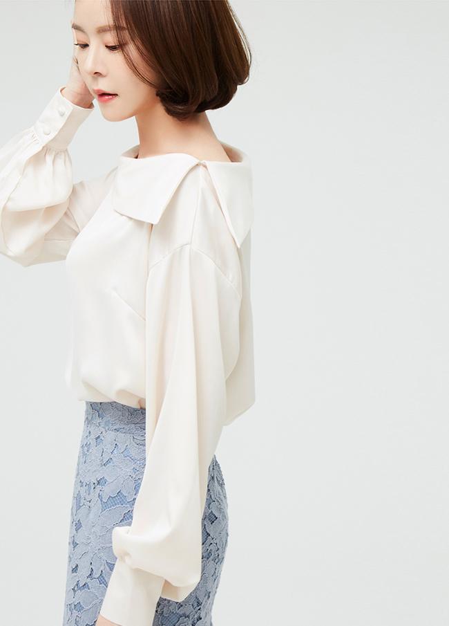 (3SBL002)Untitled Boat Neck Silky Woman衬衫