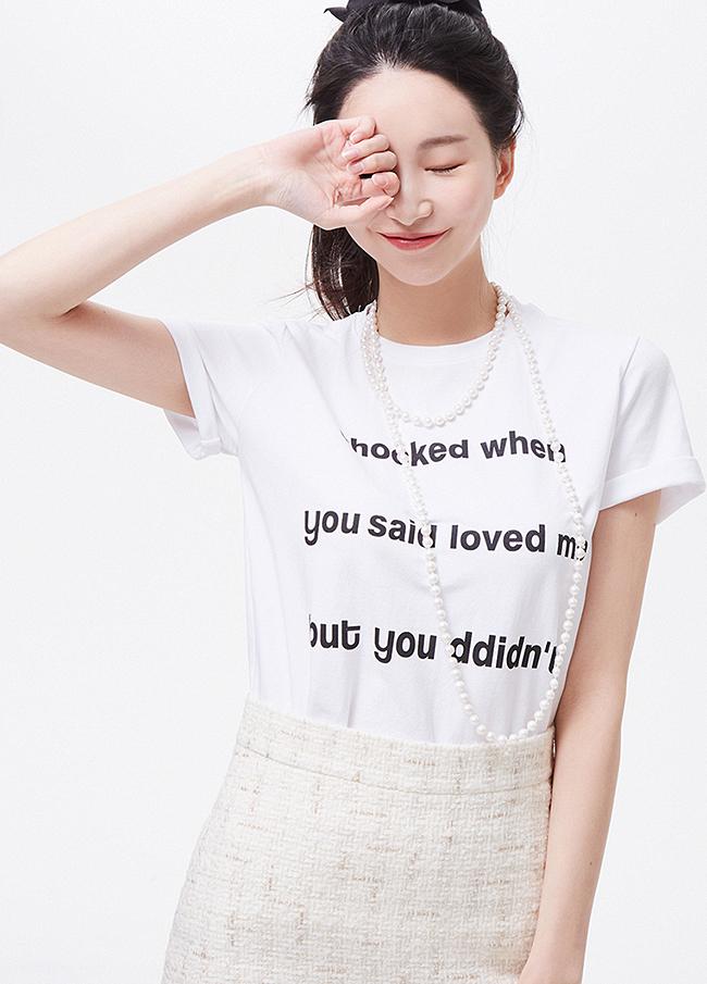 (3STT020)棉弹力刻字短袖T恤衫