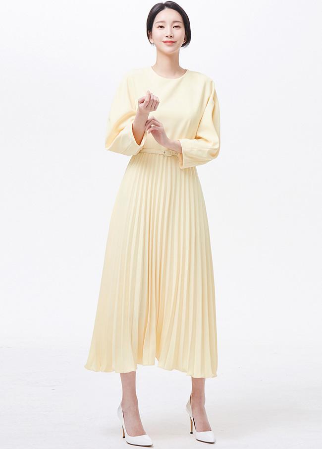(3SOP031)百折腰带折叠连衣裙