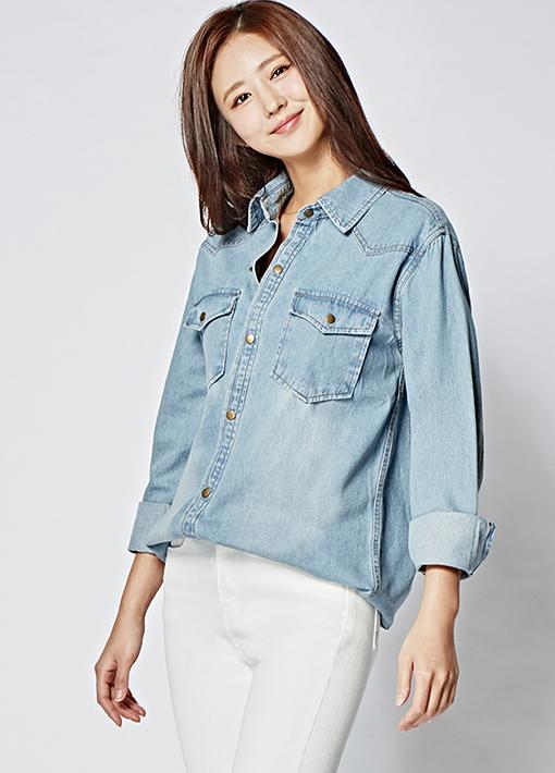 (3SBL037)Carla牛仔色衬衫