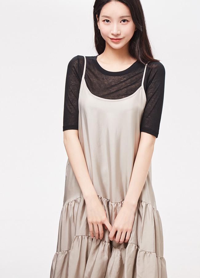 (3SOP086)奥心/打底衫荷叶裙连衣裙