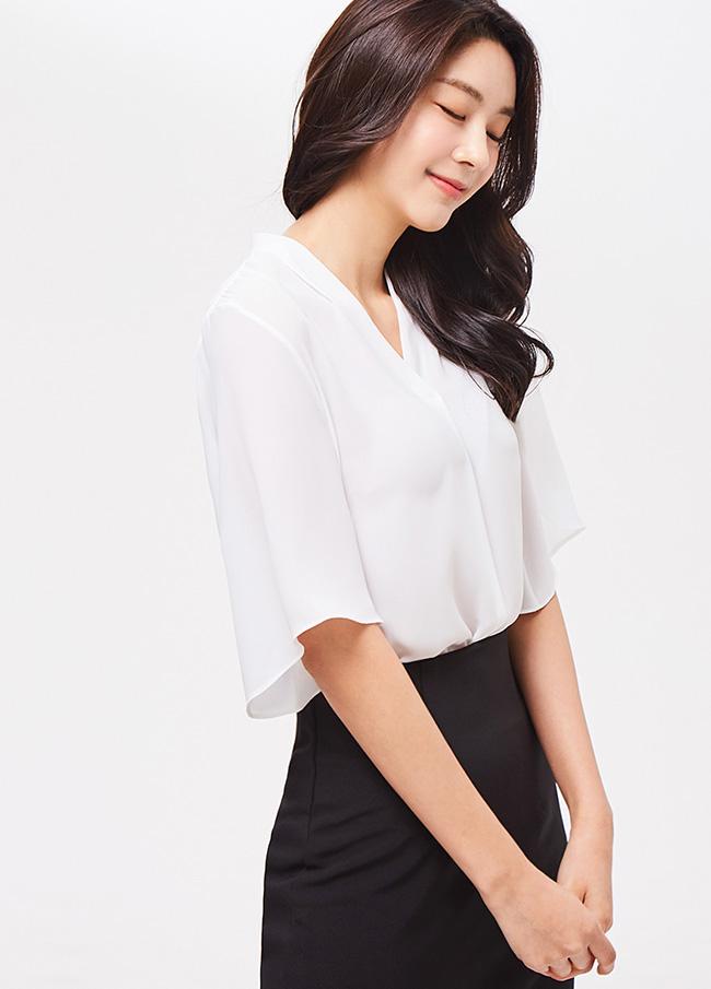 (3SBL061)纯短袖女衬衫