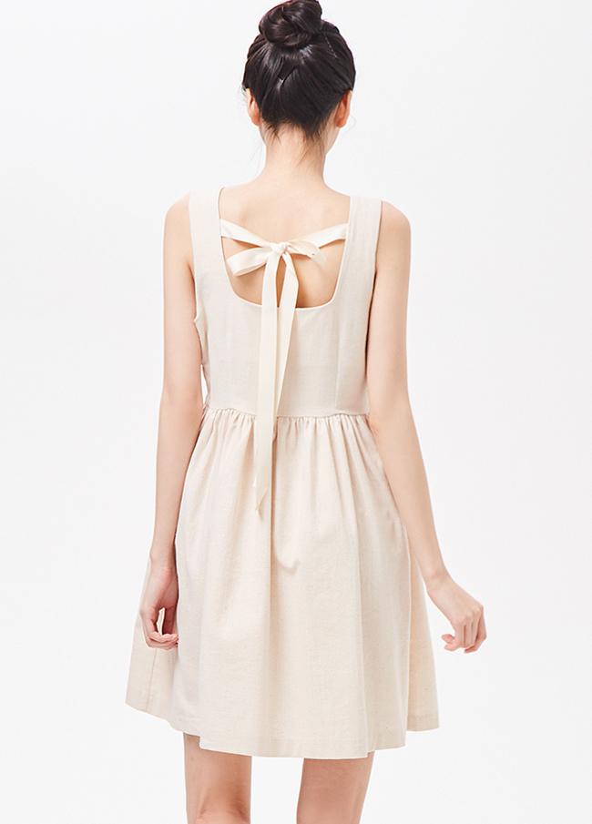 (3SOP122)棉亚麻quare连衣裙