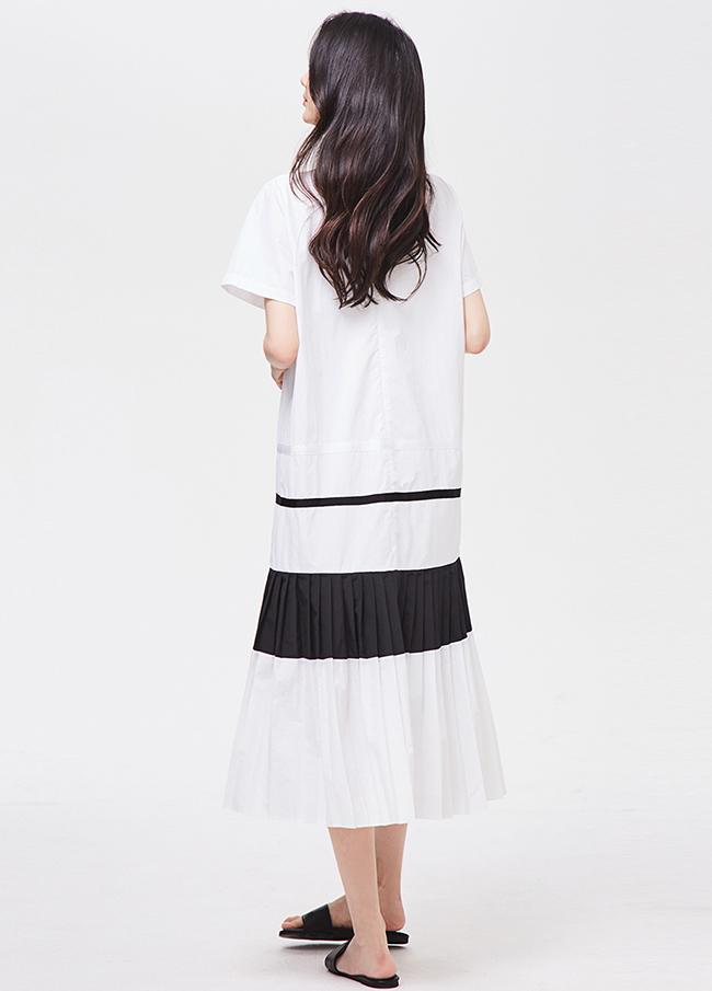 (3SOP166)棉色着色折叠衣衣裙