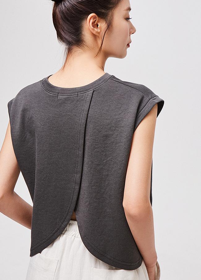 (3STT136)棉质Tencel切口刻字T恤衫