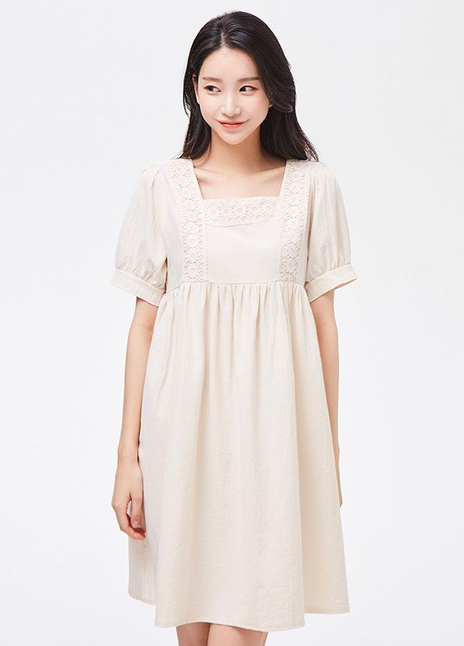 (3SOP290)Cotton Square Shirring连衣裙