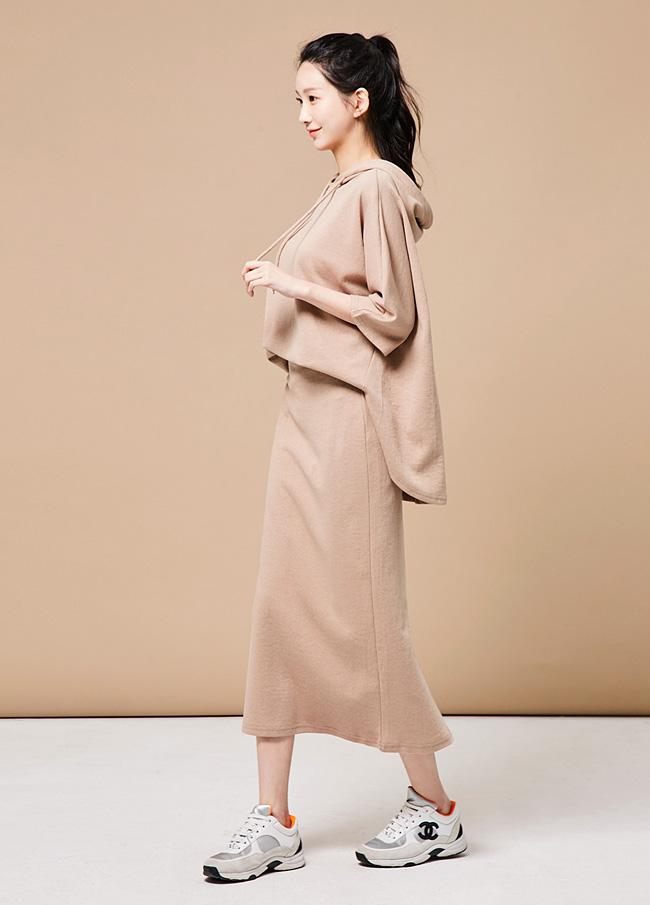 (3FOP006)Cotton卫衣松紧带裙子套装