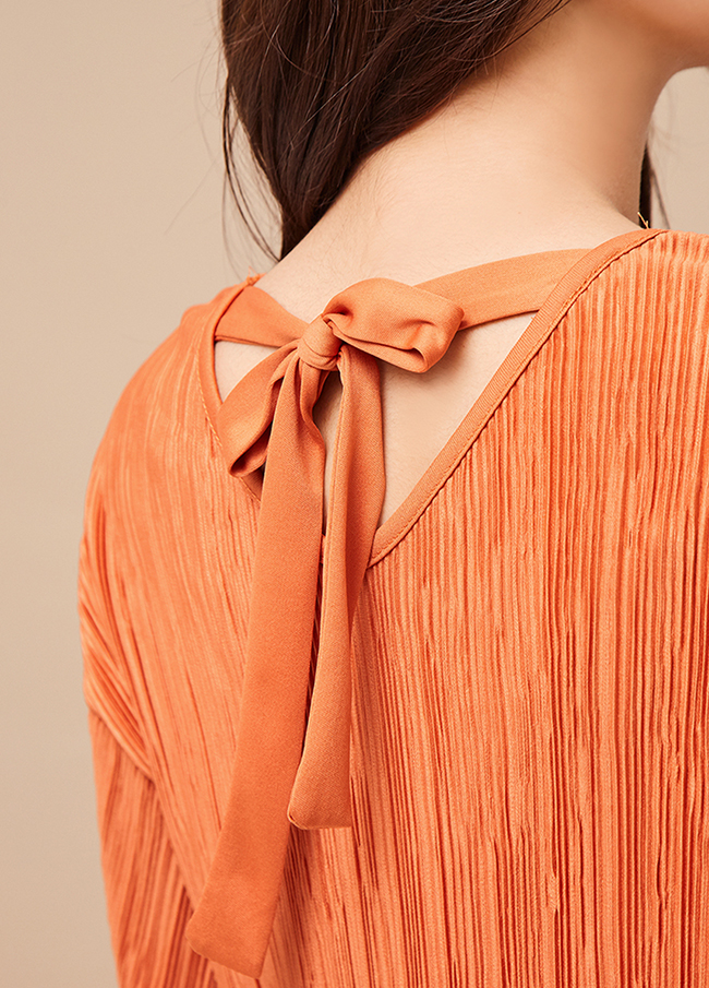 (3FOP030)包皮条/束带褶皱连衣裙