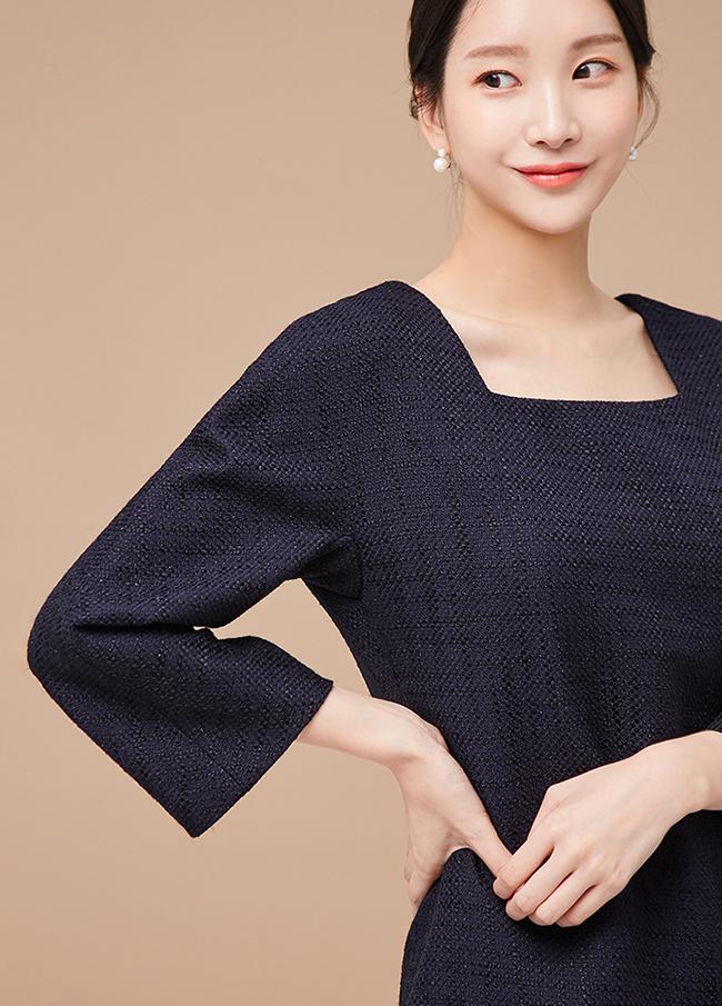 (3FOP032)方形束腰A线条连衣裙