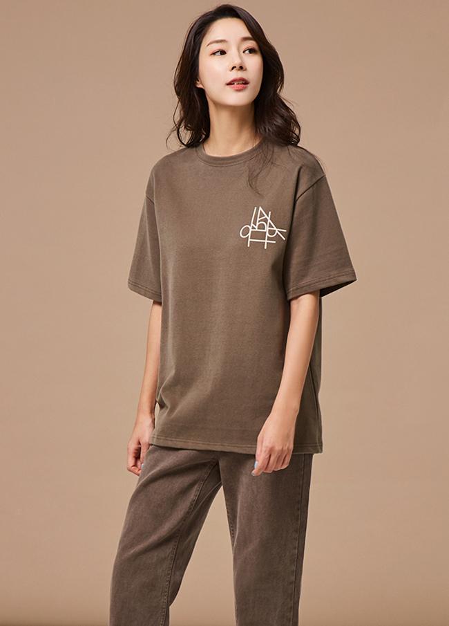 (3FTT065)刻字圆圈关键点棉T恤衫