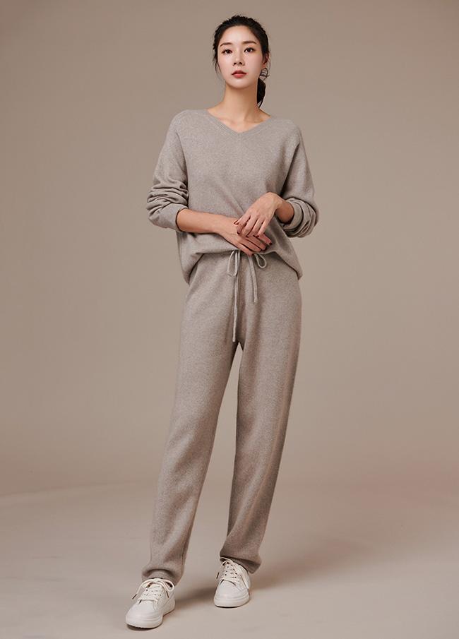 (3FPT193)羊毛松紧紧带easy短裤针织衫