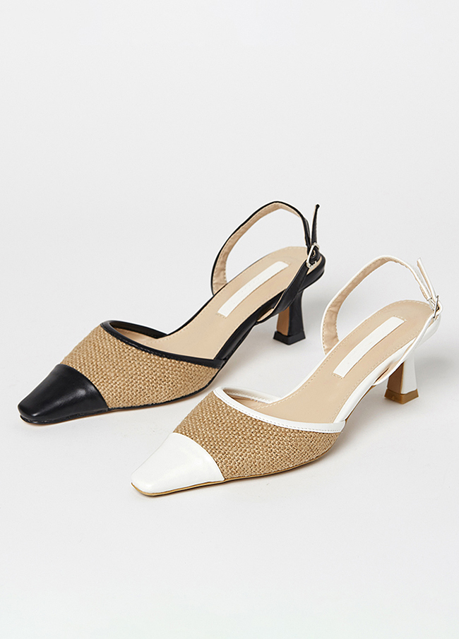 (4SSH052)6109拉菲草配色露脚后跟鞋