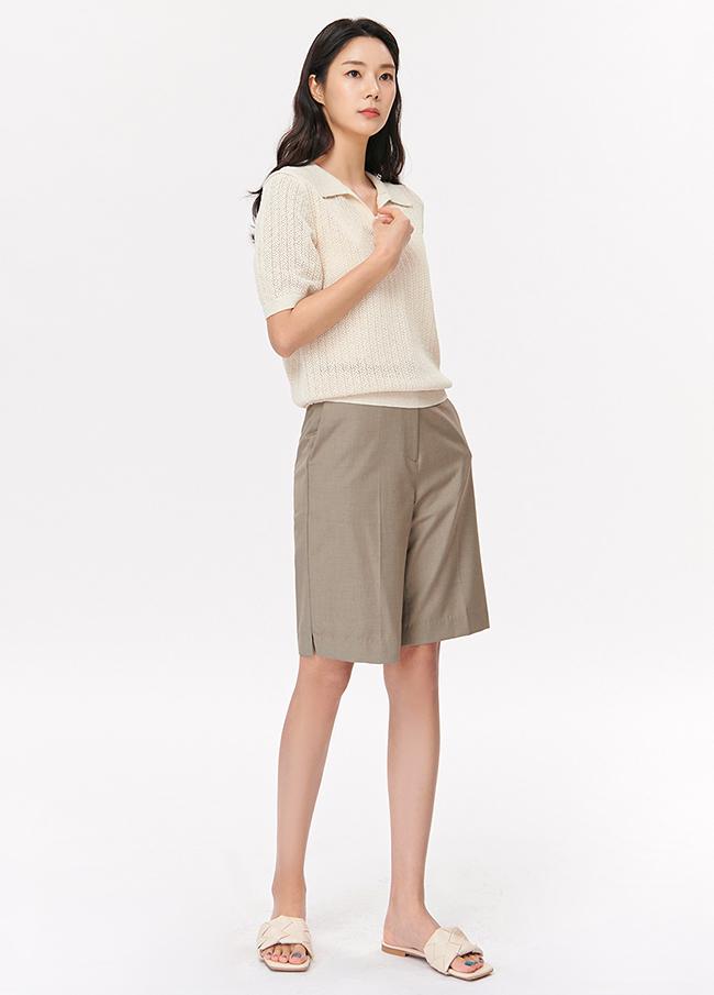 (4SNT054)棉亚麻领针织衫
