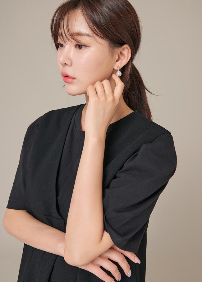 (4FER002)韩元珍珠链条耳环