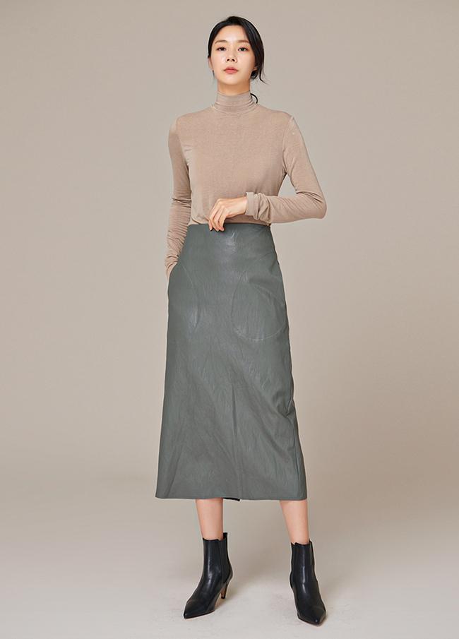 (4FSK005)皮革缝H裙子