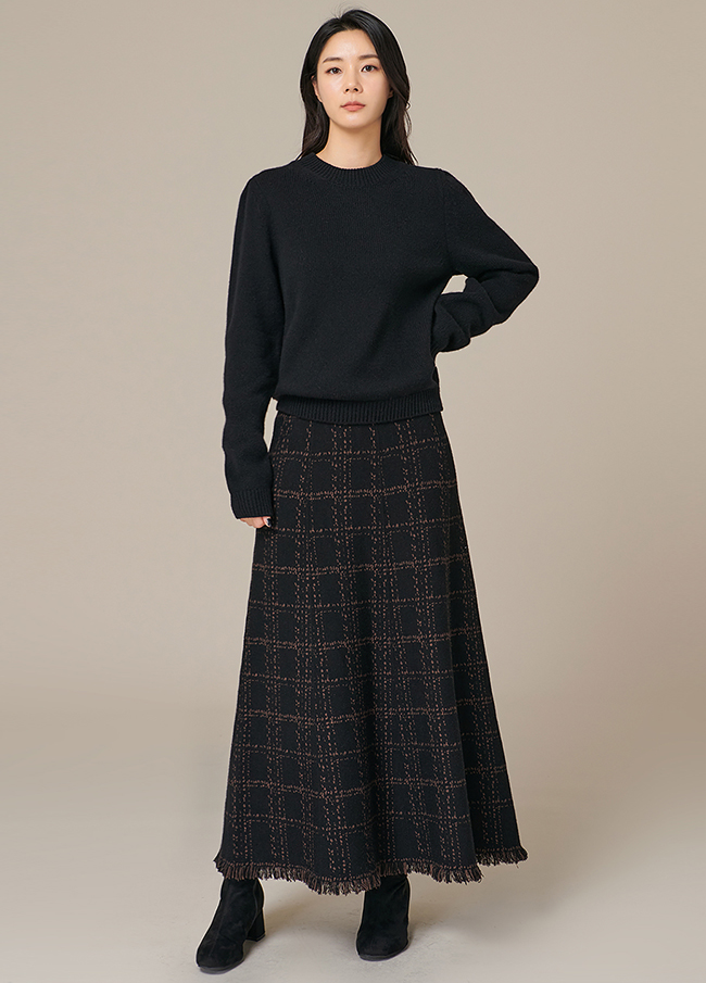 (4FNT081)长款泡泡袖羊毛针织衫