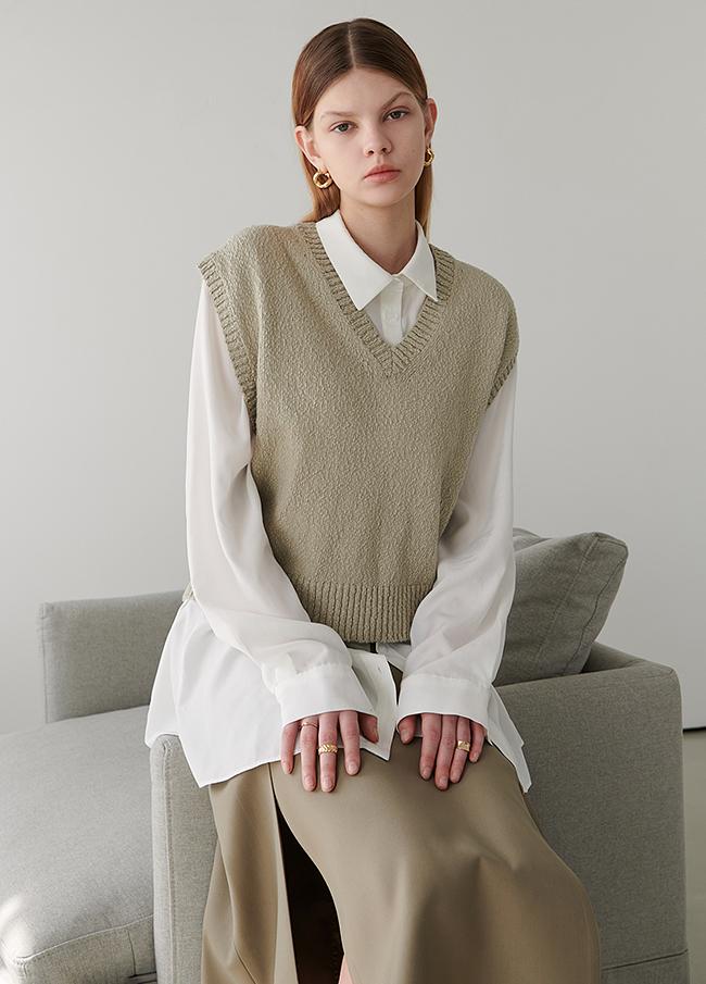 V柔丝针织衫马甲