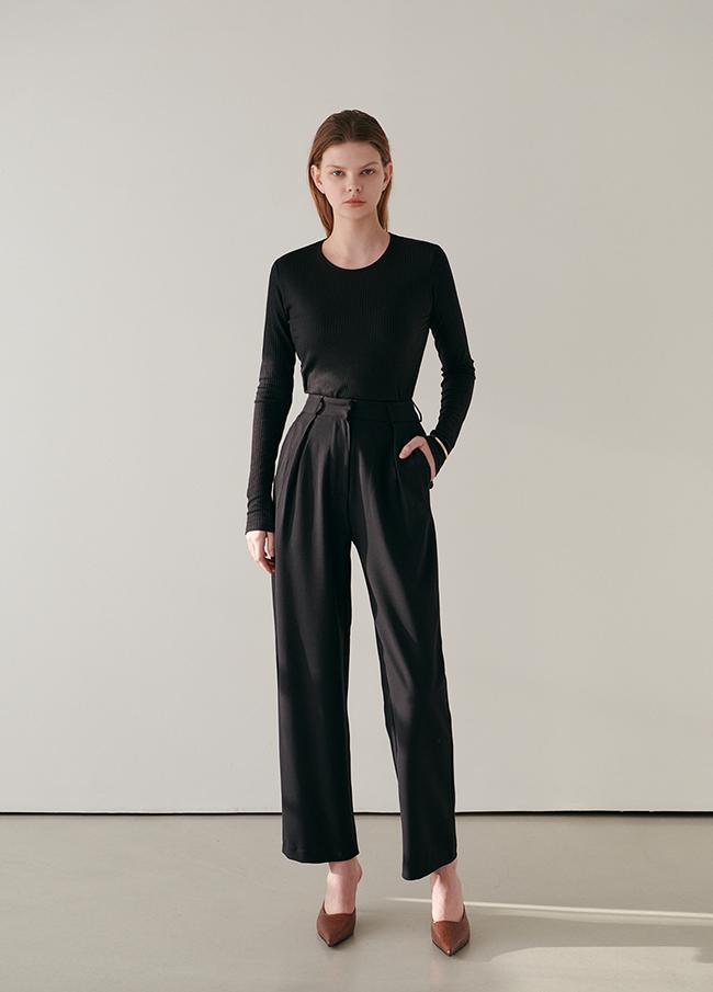 半宽细褶宽松长裤